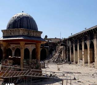 human rights observers 11th century mosque destroys in Syria arab up 1