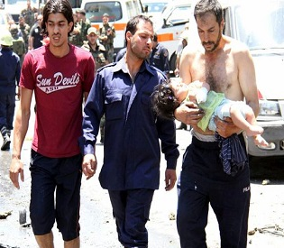 human rights observers - Car bomb explodes in Syria's central city of Homs arab uprising1