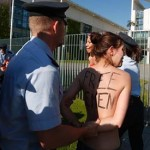 Police break up topless protest in Berlin