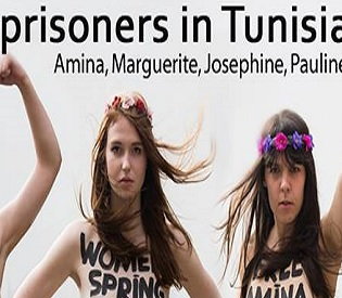 human rights observers - Tunisian court imprisons 3 European topless feminist intl. news1