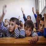 Syrian children attend school amid war