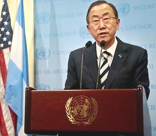 "U.N. Secretary General Ban Ki-moon speaks during a press conference following a meeting Syria on Monday, Sept. 16, 2013.  U.N. inspectors said there is ""clear evidence"" that chemical weapons were used in Syria. (AP Photo/Bebeto Matthews)"