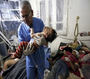 hromedia Syria Aleppo hospitals 'overwhelmed' in wake of deadly air strikes arab uprising2