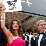 Salma Hayek presses for return of kidnapped Nigerian schoolgirls at Cannes film festival