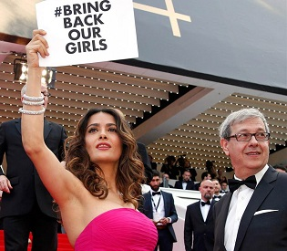 hromedia Salma Hayek presses for return of kidnapped Nigerian schoolgirls at Cannes film festival intl. news2