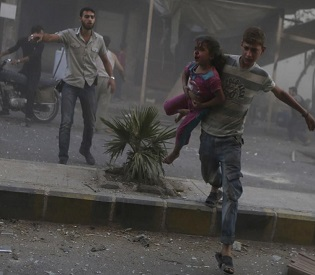 hromedia 42 civilians killed by Assad government air raids near Damascus arab news2