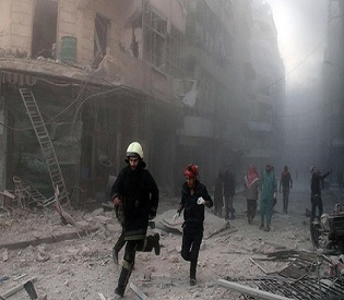 hromedia At least 21 killed, 100 wounded in Syrian army airstrikes near Aleppo arab uprising2