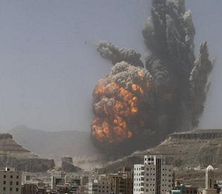 hromedia Air strike on missile base in Yemen capital kills 7, causes huge explosion arab uprising2