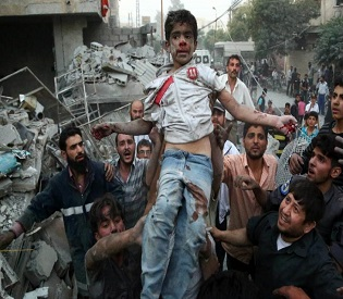 hromedia Syrian airstrikes kill 33 in Damascus suburb, including three children arab uprising2