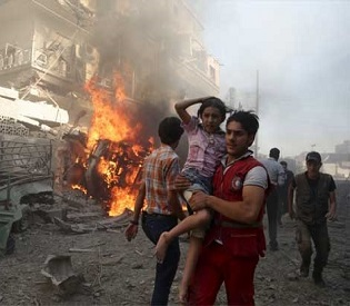 hromedia Syria 48 civilians killed in Russian air strikes on Homs arab uprising2