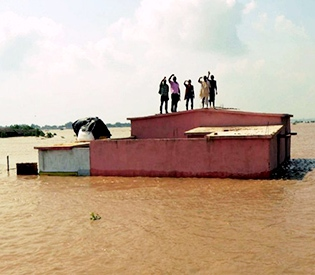 during flooding in central, eastern India