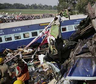 Train derails in north India