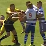 Portuguese football player grabs match referee kneed him in the face, knocked him down