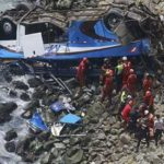 At least 48 dead when bus plunges onto rocky beach in Peru
