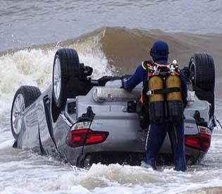 France after flashfloods wash car into sea